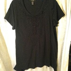 Black tunic with lace applique